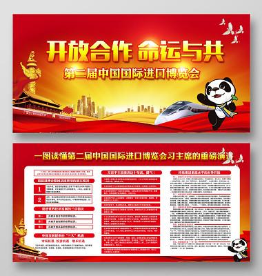 黨建黨政紅色大氣第二屆中國國際進口博覽會宣傳欄展板設計