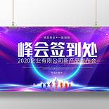 工作總結公司年會紫色炫酷峰會簽到處新品發布會舞臺背景海報