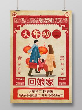 春節習俗復古2020鼠年大年初二回娘家傳統節日過新年海報大年初一至初七系列圖6