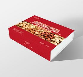 年貨節禮盒紅色簡約美味時光堅果年貨新年禮盒包裝