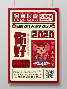 紅色復古風2020新年鼠年春節你好2020鼠年海報