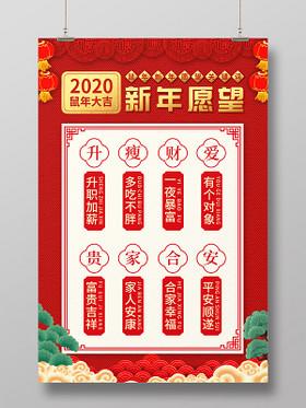 紅色繽紛中國風2020鼠年新年愿望海報2020新年愿望