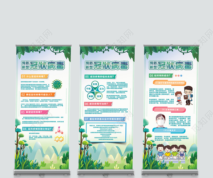 2020湖北武漢安全預防感染新型冠狀肺炎易拉寶展架