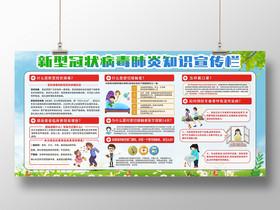疫情簡約大氣新型冠狀新型冠狀肺炎知識宣傳欄展板