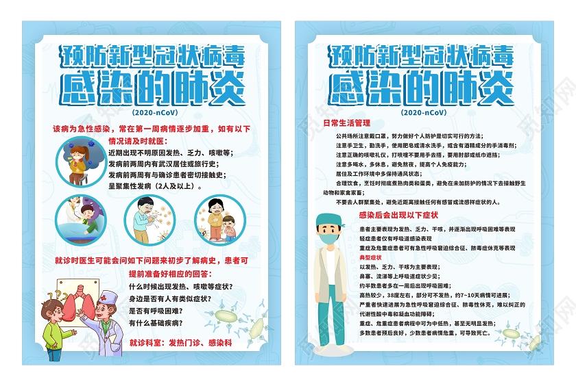 浅蓝卡通简约预防新型冠状病毒感染的肺炎系列海报新型冠状病毒肺炎图片