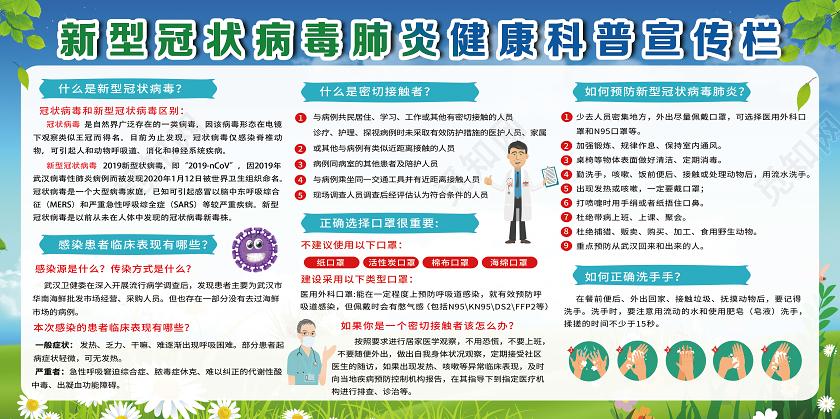 蓝色卡通新型冠状病毒肺炎病毒抗击疫情宣传栏展板图片