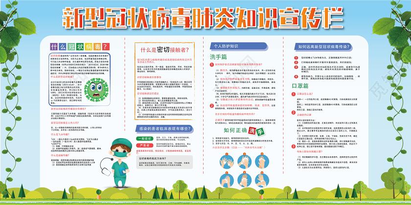 蓝绿几何卡通简约新型冠状病毒肺炎病毒抗击疫情宣传栏展板图片