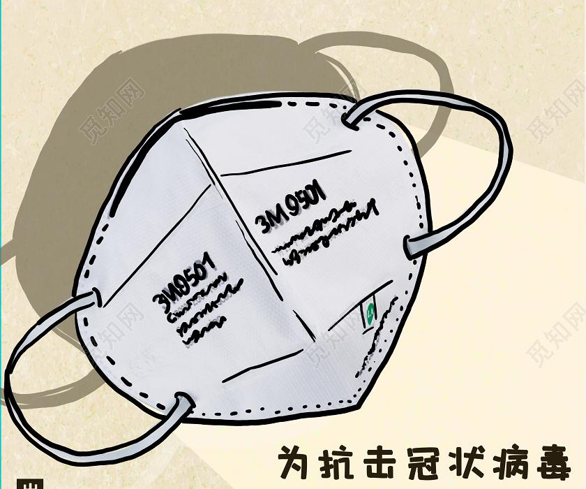 棕色创意手绘情防疫佩戴口罩海报疫情防疫佩戴口罩