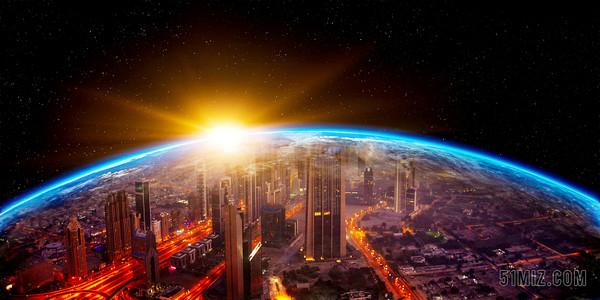 科技感宇宙航空地球