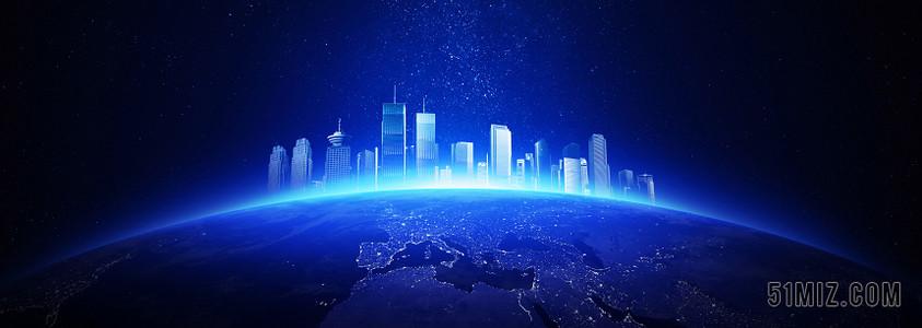 藍色科技感地球城市背景圖片