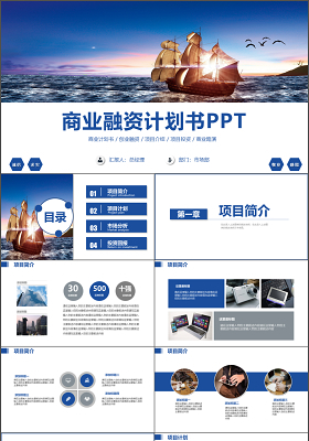 2019年簡約商務通用創業融資商業計劃書PPT模板