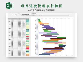 項目進度管理表模板EXCEL表甘特圖