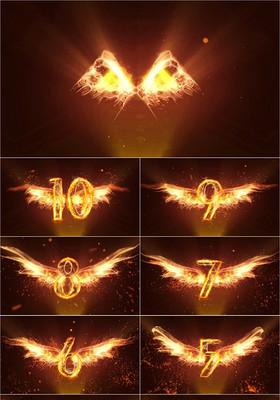 大氣金色翅膀年會開場10秒鐘倒計時ppt模板