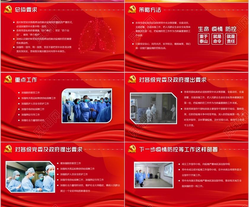 醫療疫情肺炎紅色黨政風疫情超級病毒超級部署PPT模板
