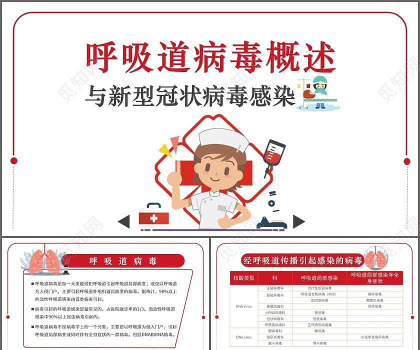 醫療護理安全教育疫情肺炎紅色簡約呼吸道病毒概述與新型冠狀病毒感染PPT模板