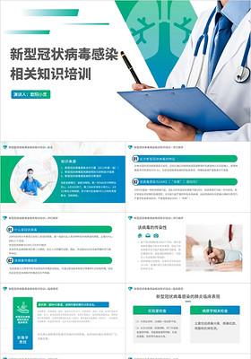 藍色商務醫療新型冠狀病毒肺炎知識培訓PPT模板