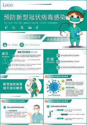 醫療扁平化預防新型冠狀病毒感染從你我做起ppt模板疫情防控