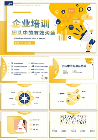 企業培訓黃色扁平風簡約團隊中的有效溝通技能培訓動態PPT模板