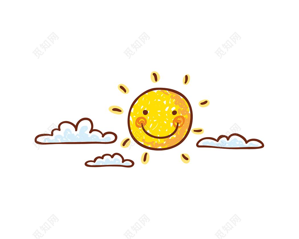 云朵素材矢量图_金色太阳笑脸云朵矢量图素材免费下载 - 觅知网
