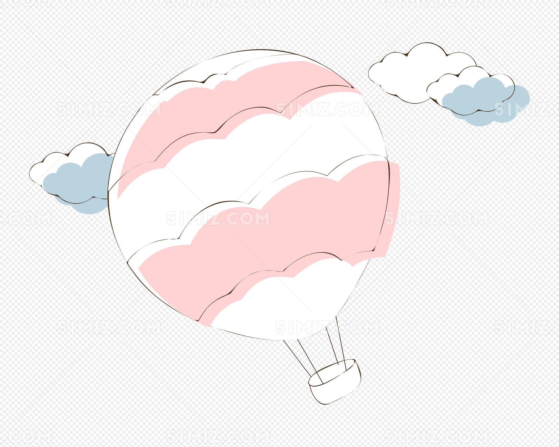 多云天气唯美图片_手绘卡通热气球矢量图片素材免费下载 - 觅知网