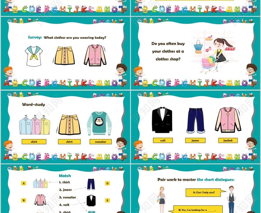 初中英语课教学视频_彩色卡通儿童英语说课课件PPT下载 - 觅知网